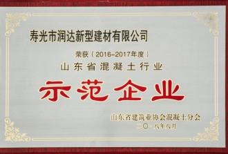 2016-2017年度山东省混凝土行业示范企业